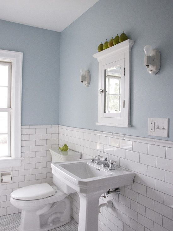 White Subway Tile Pedestal Sink Not This Blue But Blue