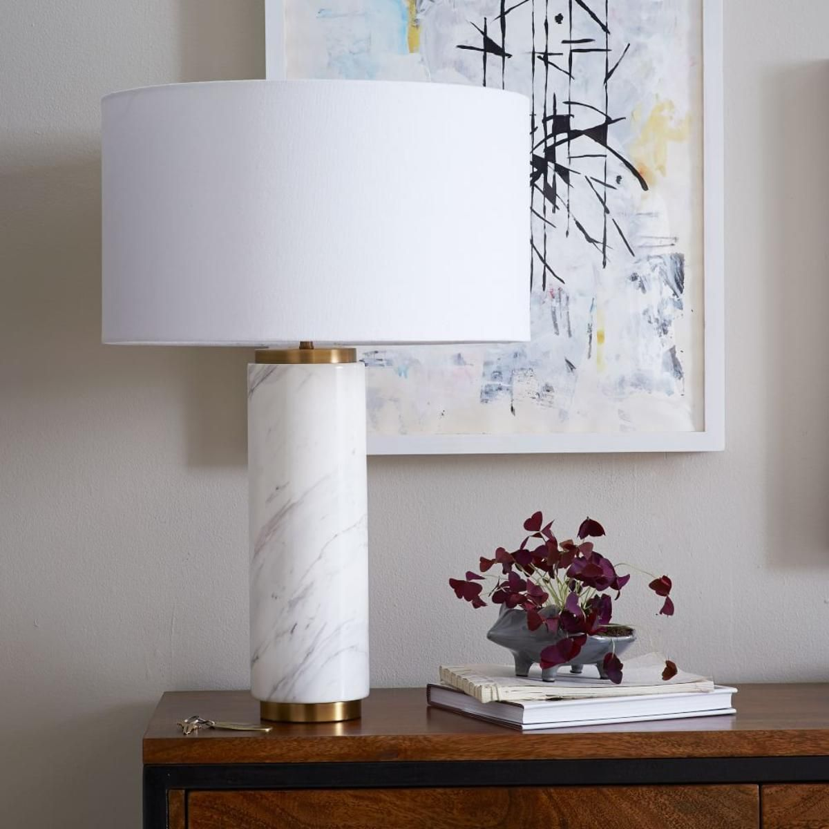 Httpwestelmpillar table lamp marble w925 lighting featuring a marble finished base and white linen shade the west elm pillar table lamp is perfect for the bedside or entryway console geotapseo Gallery