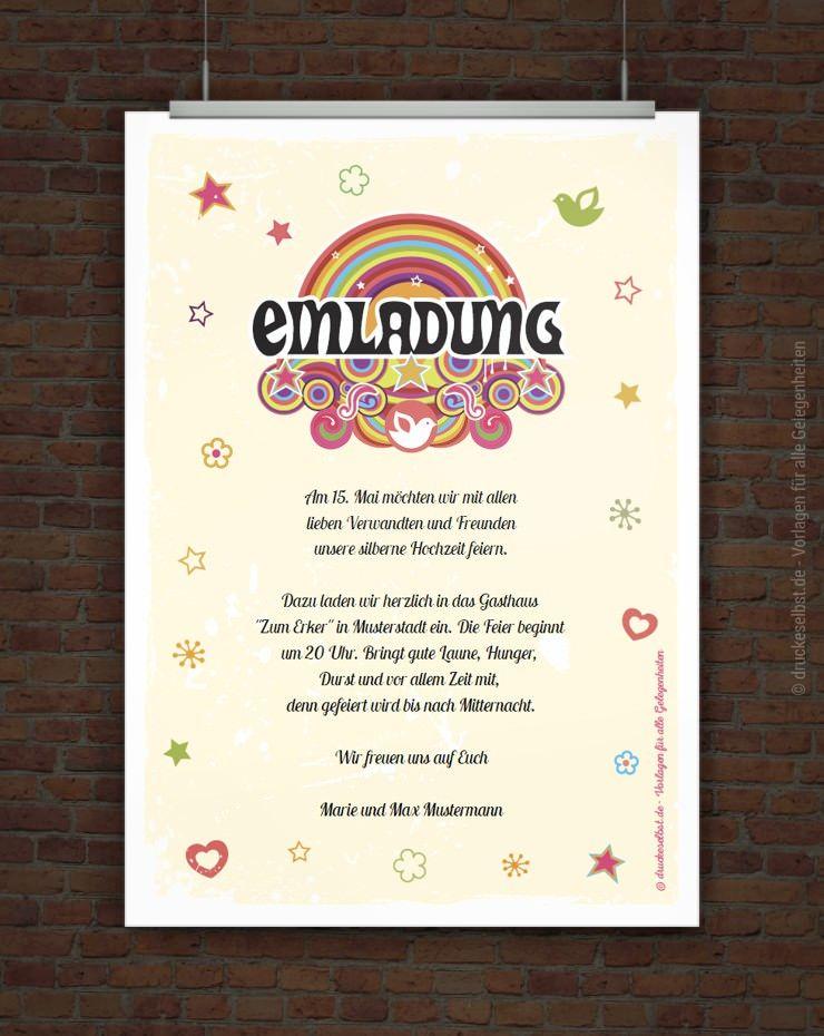Kostenlose einladung silberhochzeit zum selbstausdrucken free printables - Silberhochzeit einladung ...