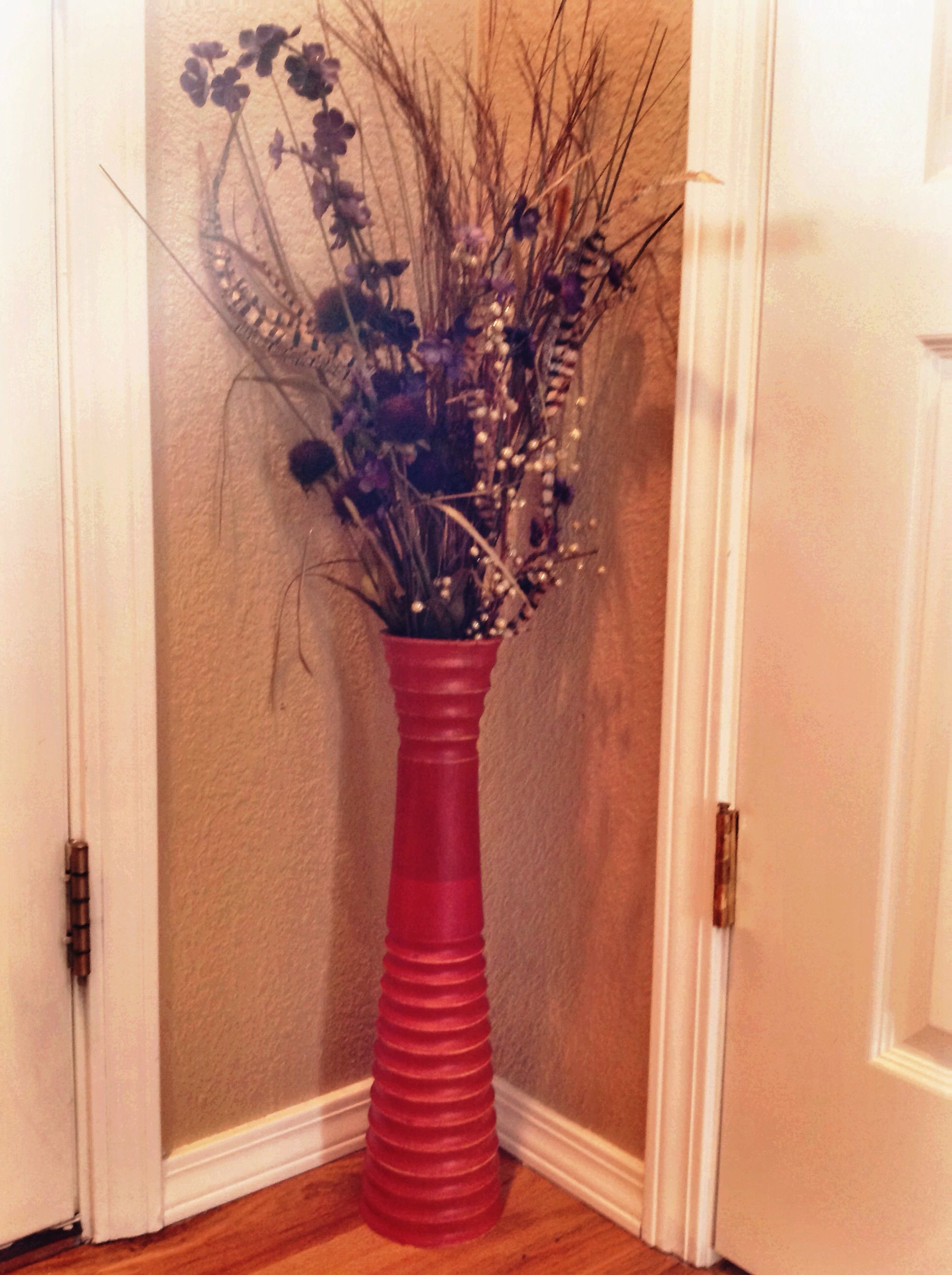 Dried flower arrangement that i made using shades of purple dried flower arrangement that i made using shades of purple turkey feathers in a tall hermes orange wooden vase reviewsmspy