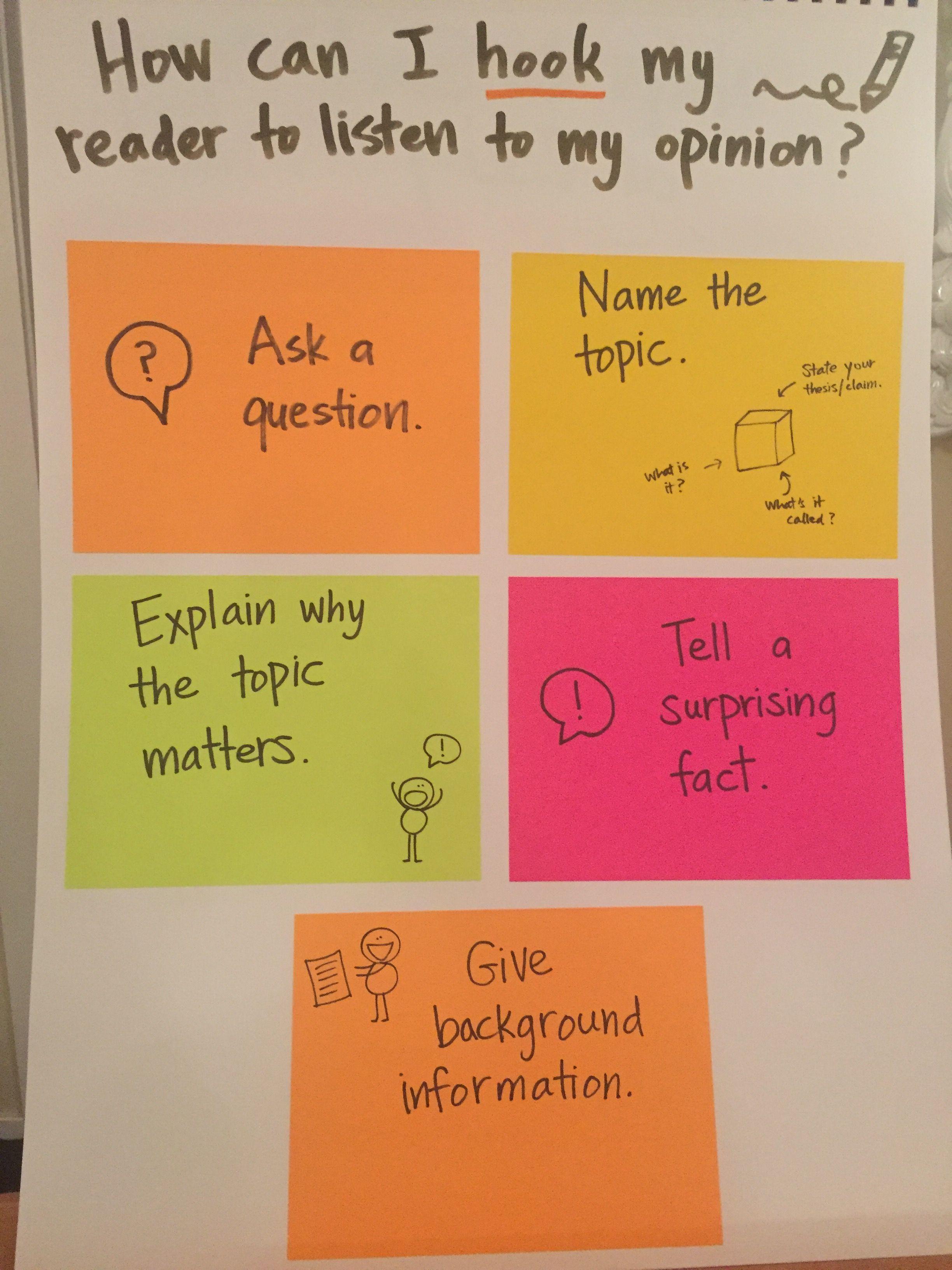 Opinion Hooks Introduction Ideas Writing Mini Lessons Persuasive Writing Writing Introductions