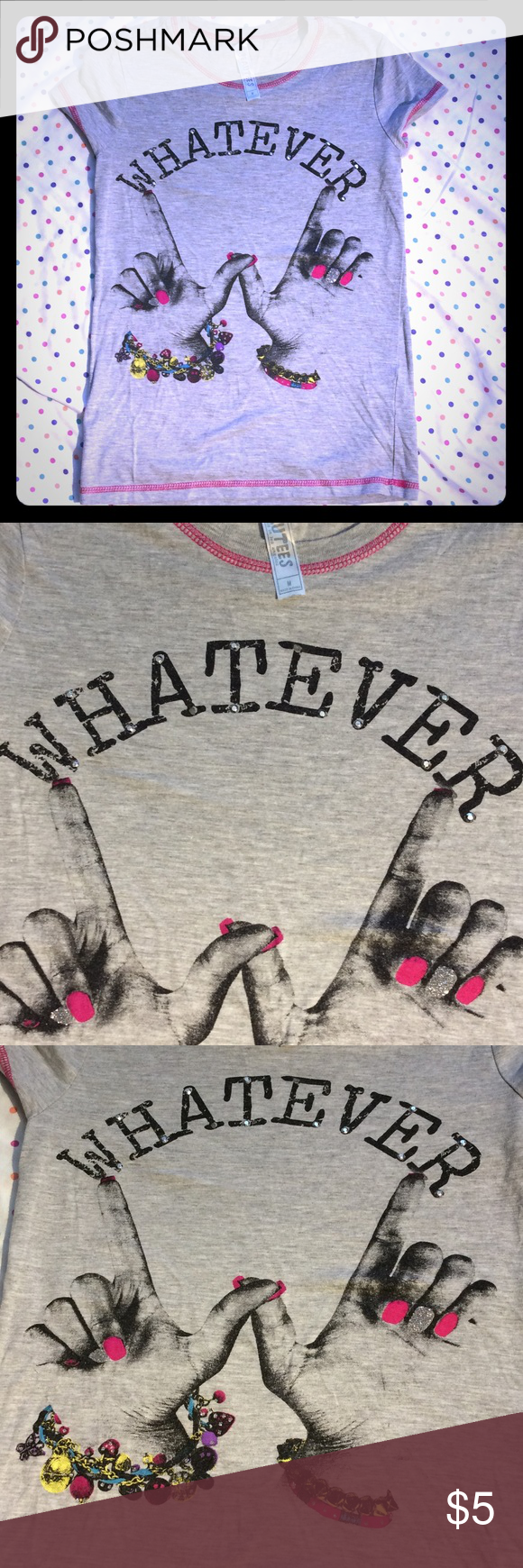 "Girls ""Whatever"" tee By Beautees. Whatever is missing 2 studs (view pic) but in otherwise good condition. Beautees Shirts & Tops Tees - Short Sleeve"