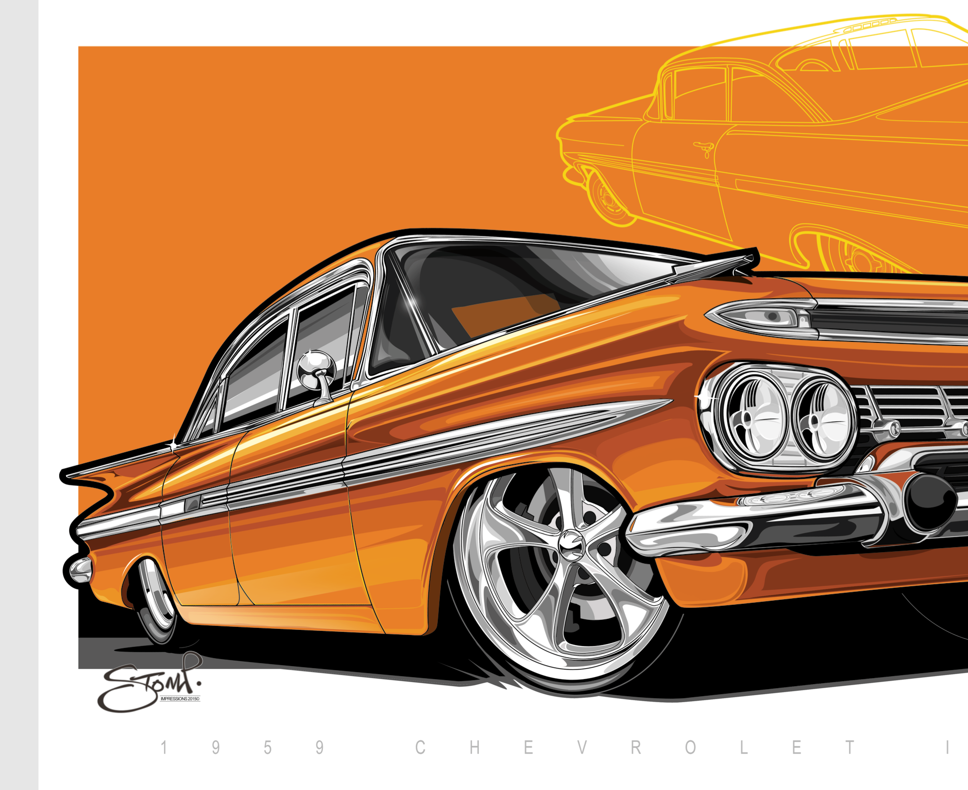 Chevrolet Impala Muscle Car Artwork Stomp Impressions