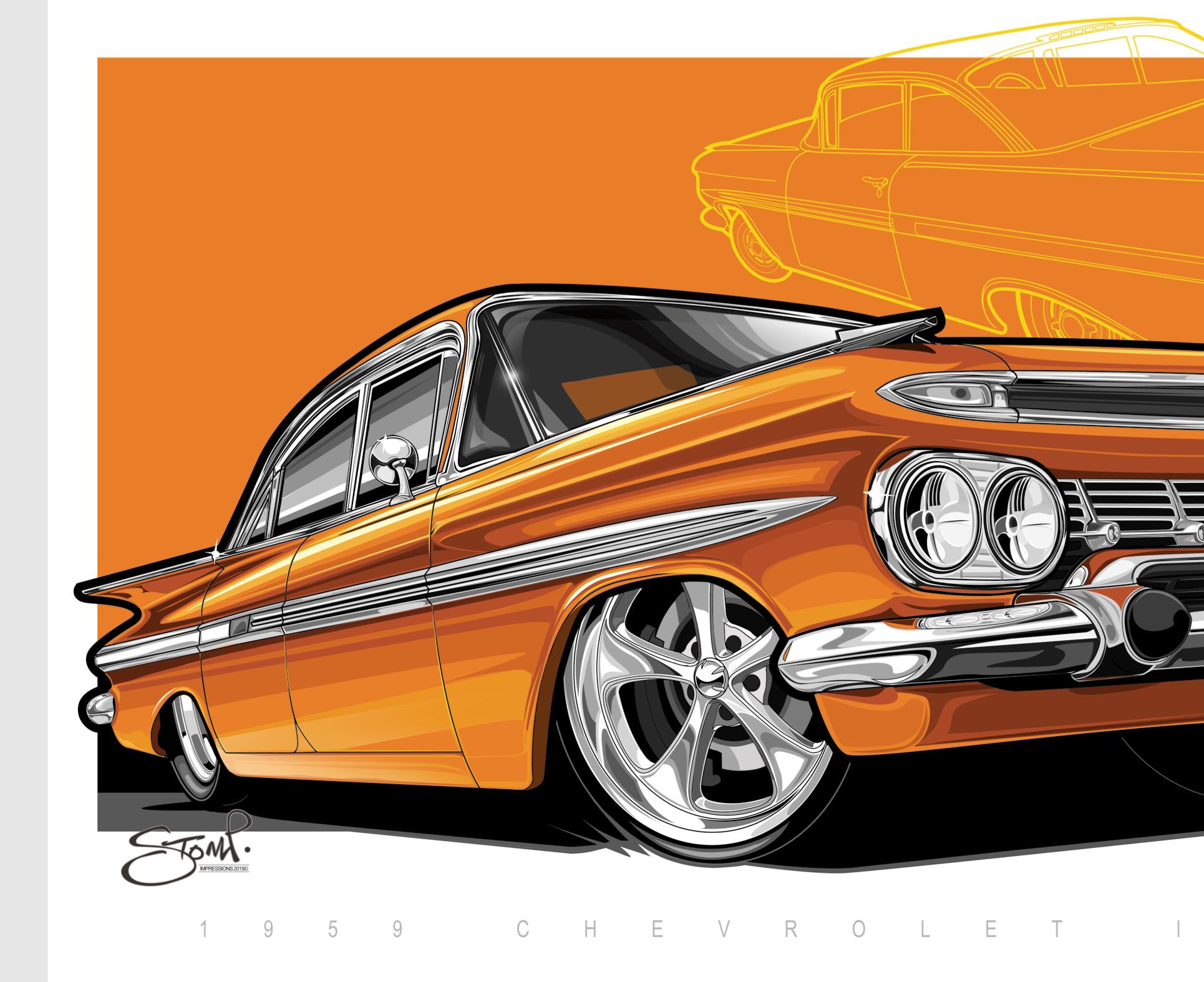 Chevrolet Impala 1959 Muscle Car Artwork Stomp Impressions 2016