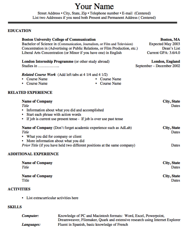 Example Of Template No Objective Resume Cv Film And Television Studie Personal Statement
