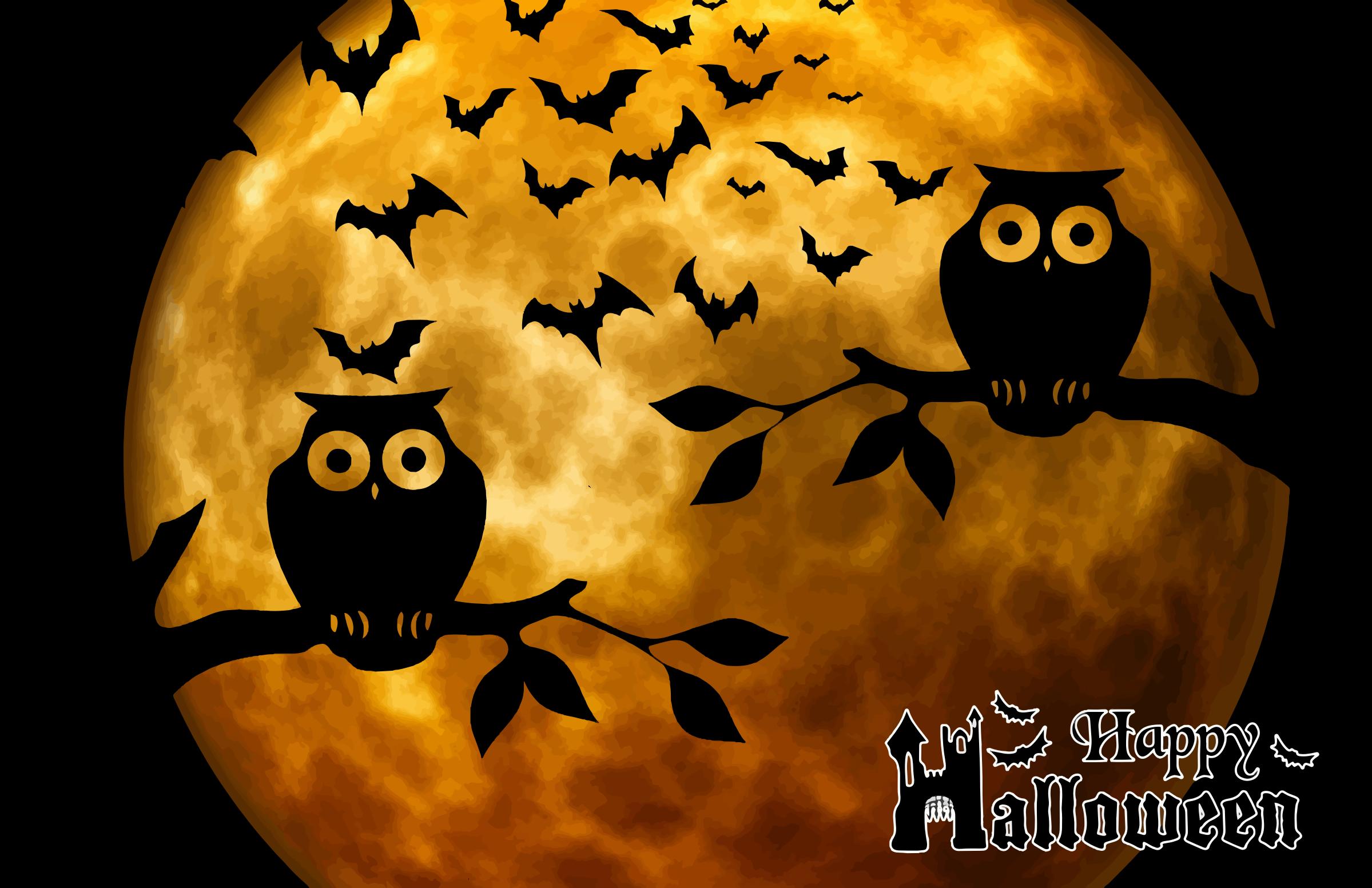 Happy Halloween Full Moon Background By Gdj Pixabay On Openclipart Halloween Owl Halloween Full Moon Halloween Cross Stitch Patterns