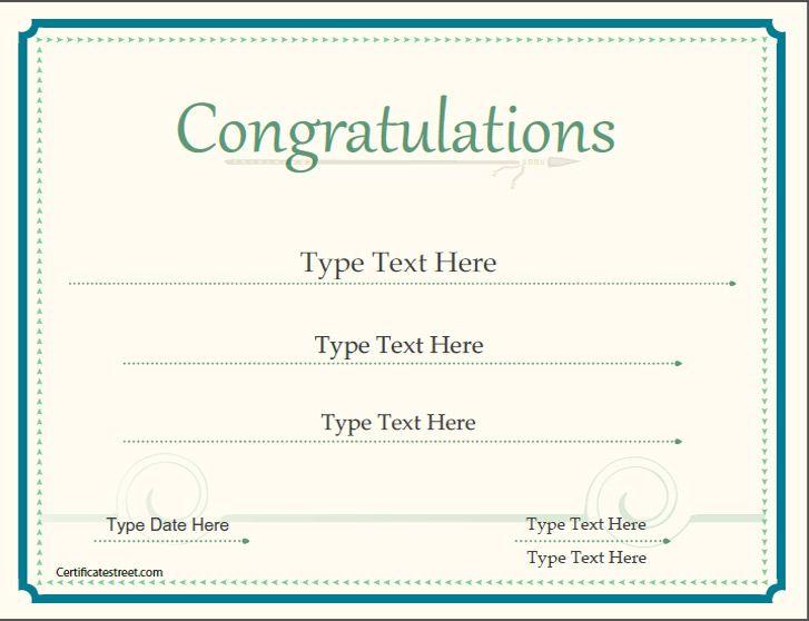 Special Certificates - Congratulations Certificate ...