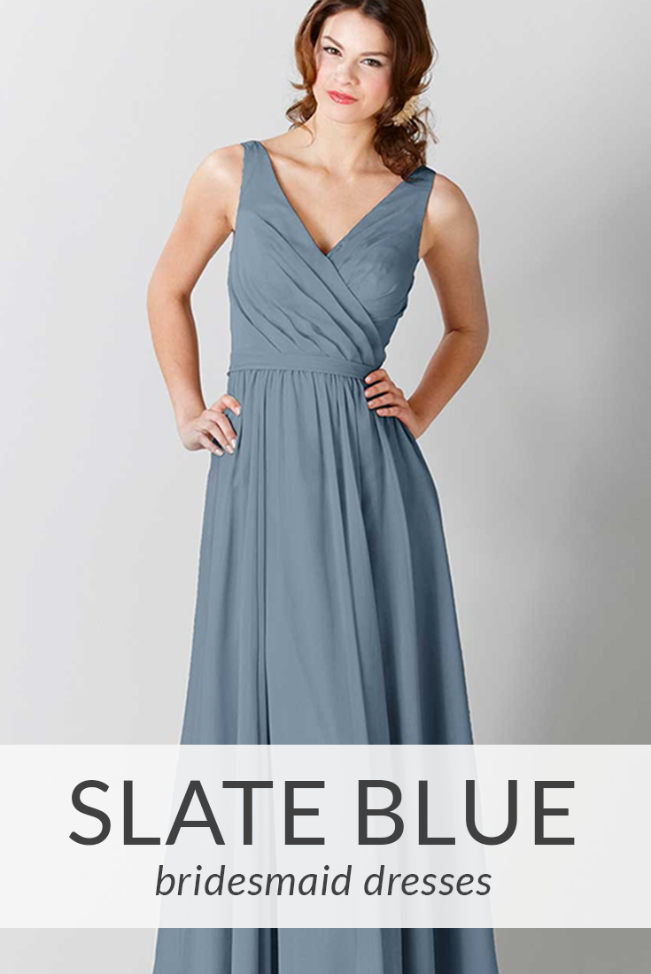 ea18f1eea67a0 Let your bridesmaids handle the 'something blue' with slate blue bridesmaid  dresses!