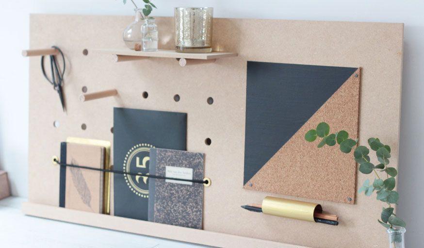 do it yourself fabriquer un pegboard le rangement de bureau id al apartment organiseur. Black Bedroom Furniture Sets. Home Design Ideas