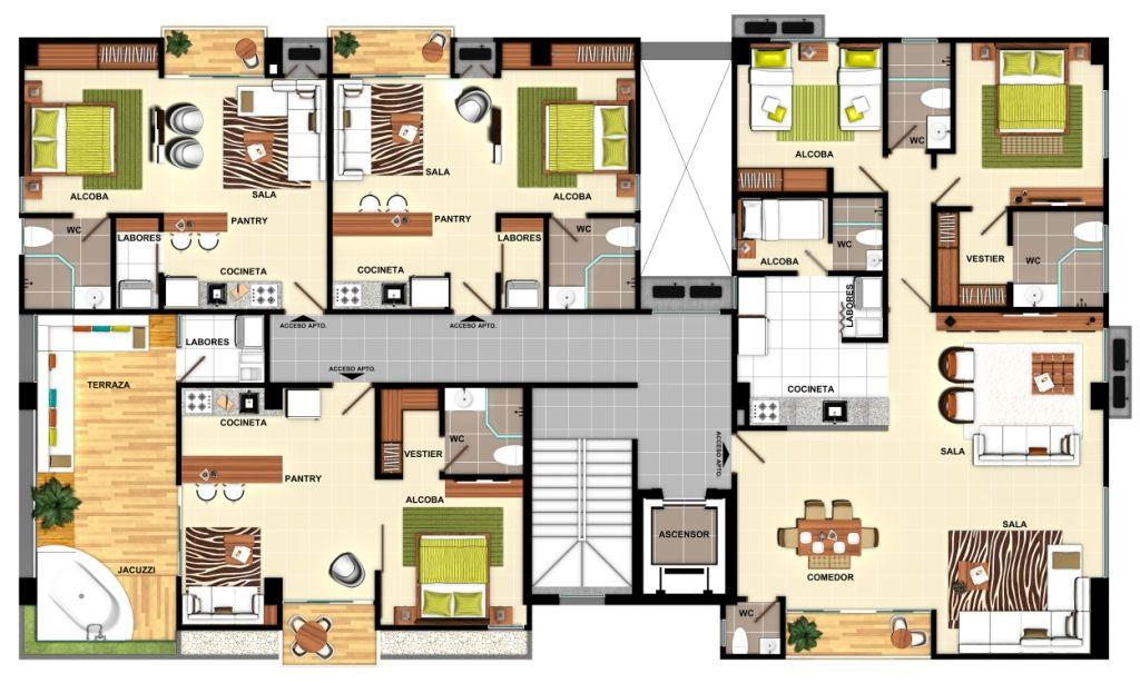 Plant Set Apartments Planta Ambientada Apartamentos Planta