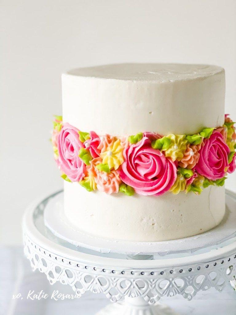 21 Simple Yet Impressive Kid Birthday Cake Ideas Katie Rosario Spring Cake Cake Decorating For Beginners Flower Cake