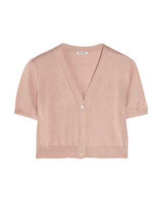 cca38fb1d697 Miu Miu • Cropped cashmere and silk blend cardigan