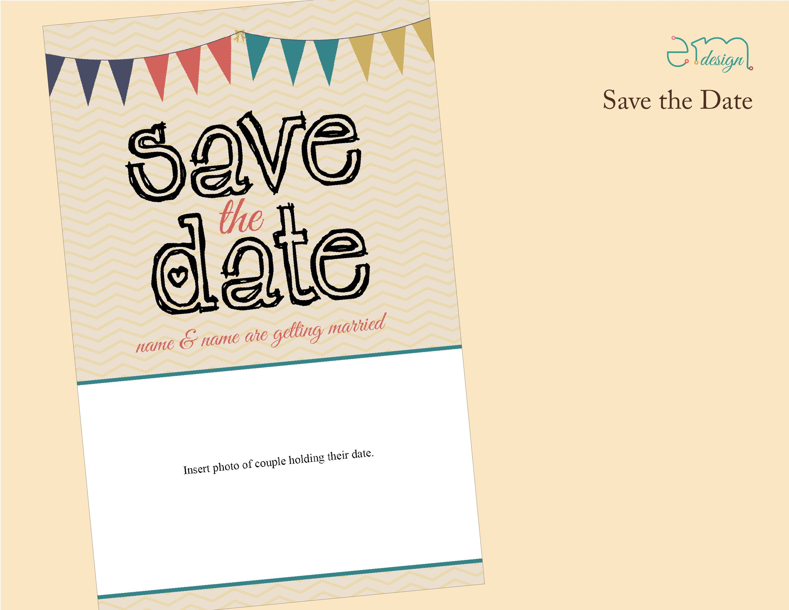 Simple Chevron Save the Date with Photo of Couple, by EmDesign.