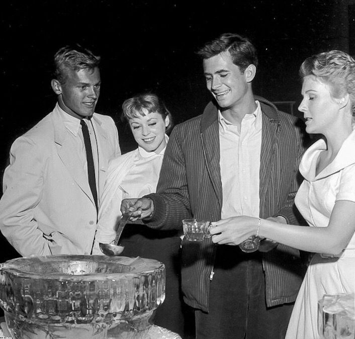Anthony Perkins, Tab Hunter, And Two Other Women X)