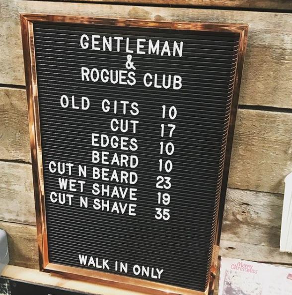 Price list Barber shop, Peg board, Wet shaving