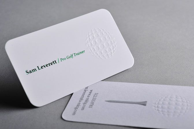 Standard Round Corners Embossed Business Cards With Flat Ink Foil