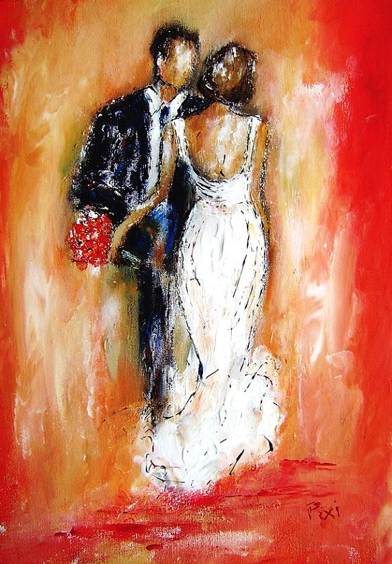 Painting As Wedding Gift : Wedding painting and art gifts-custom art portraits in textured paint ...