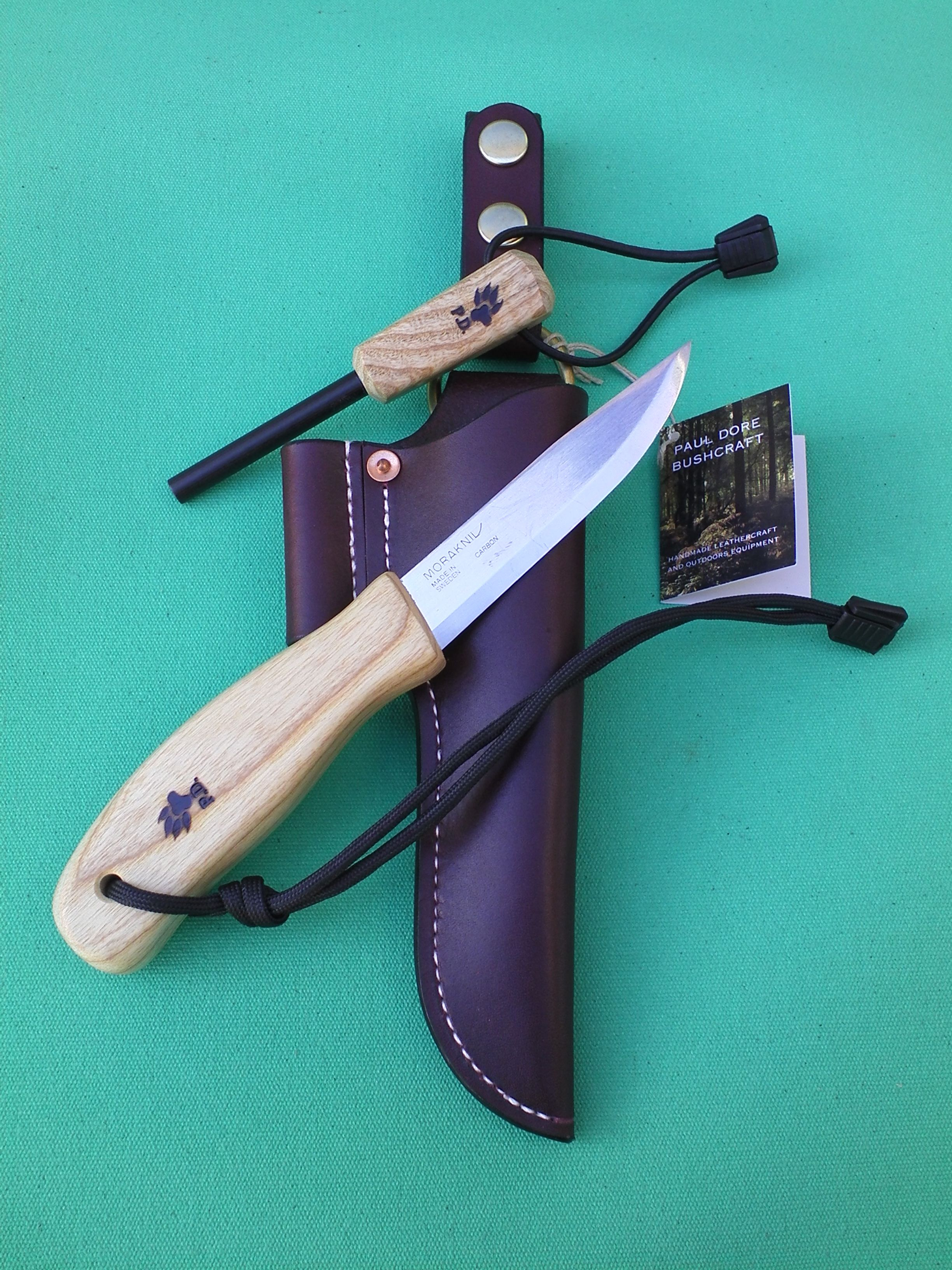 Custom Mora Clipper In Ripple Ash With Oxblood Leather Sheath Couteau