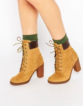 Timberland Glancy Beige 6in Heeled Boots | Lace up heel