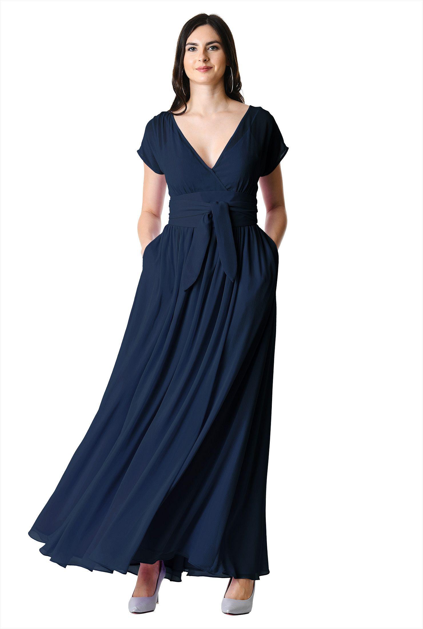 Sash Tie Chiffon Surplice Maxi Dress Dresses Womens Maxi Dresses Sheer Chiffon Dress [ 2200 x 1480 Pixel ]