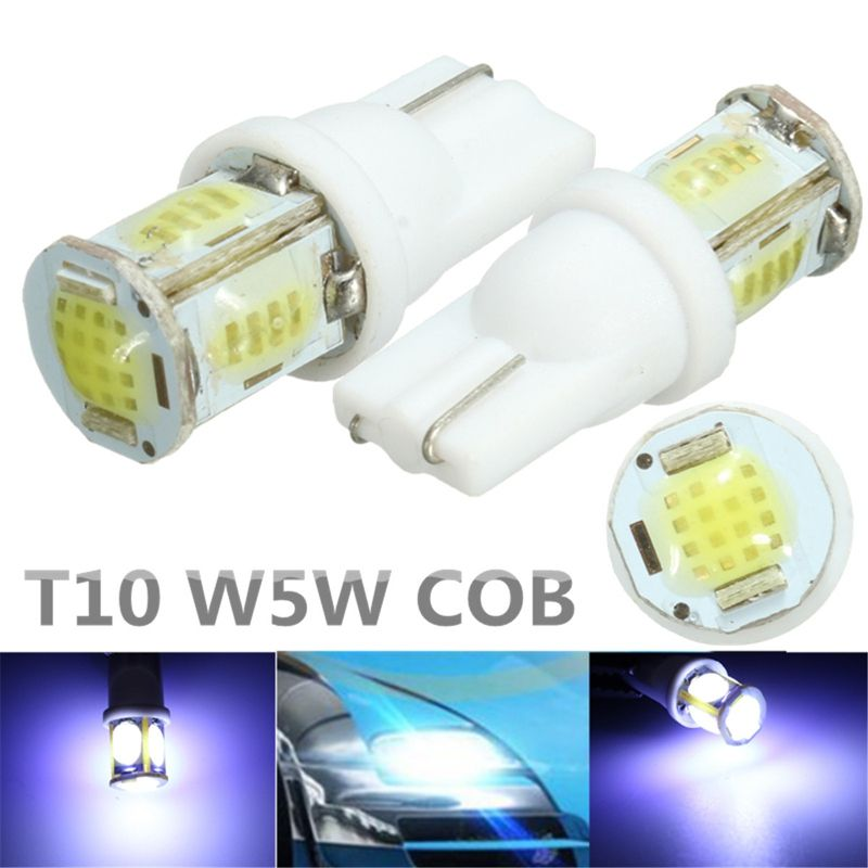 Hot 2pcs 12v T10 W5w White Led Cob Reading License Plate Roof Car Lamps Indicator Light Bulb Automobiles Parking Indicator Lights Car Lights Bulb