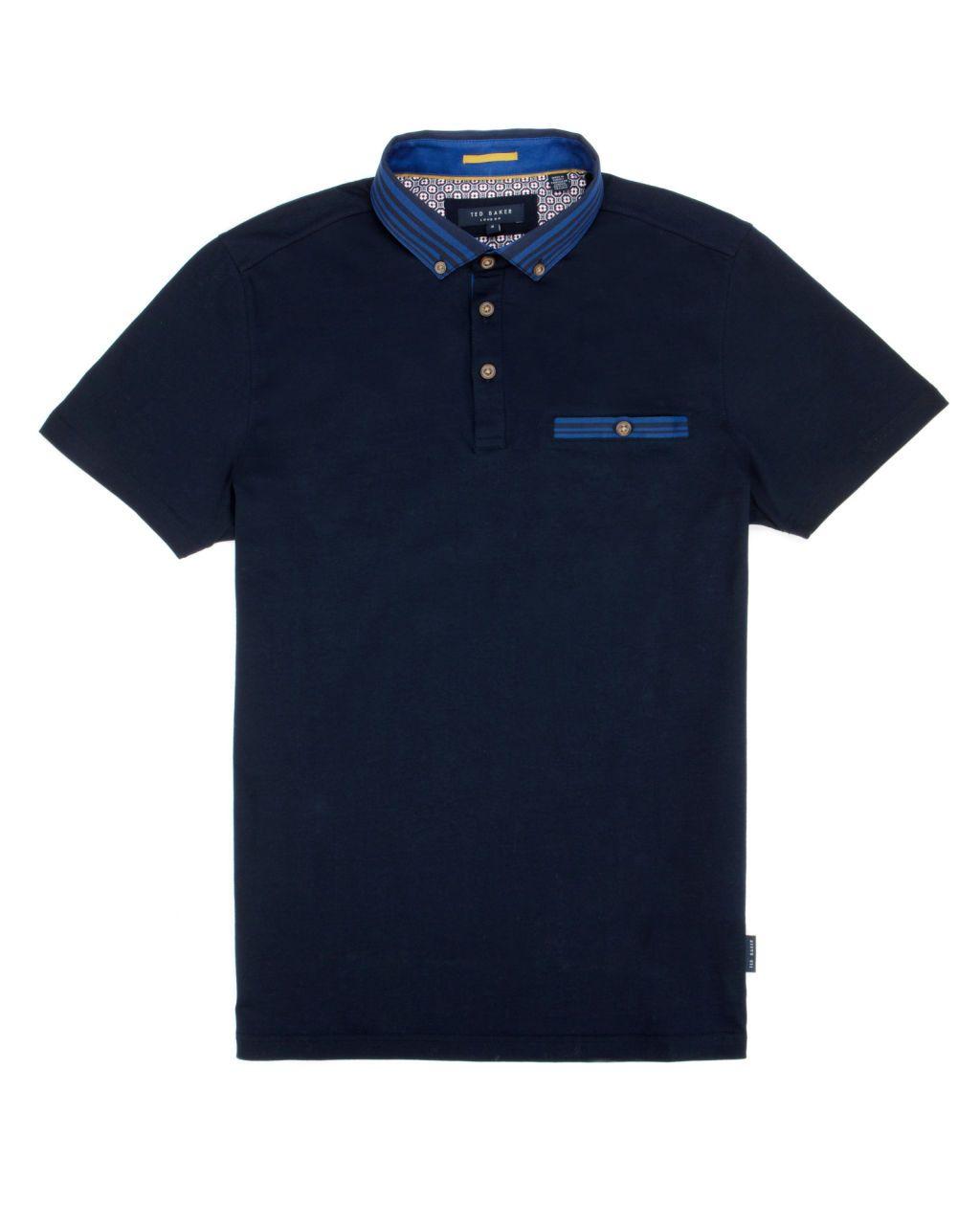 Gros grain collar polo - Navy | Tops & T-shirts | Ted Baker UK