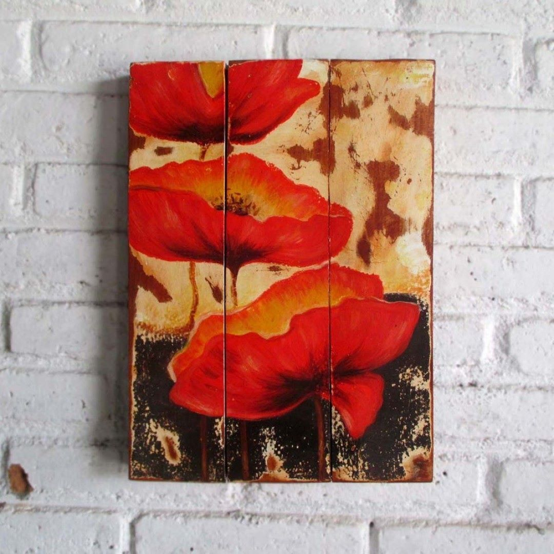 Bunga Merah Manual Painting On Wood 30 X 40 2 Cm Woodsign Homedecoration Homeandliving Vintage Alldecos Redflower