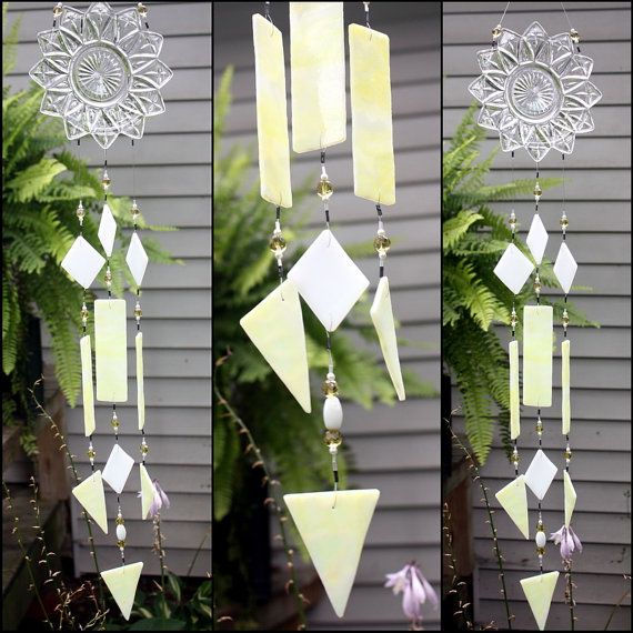 Yellow and White Vintage Glass Stained Glass by BerlinGlass #stained_glass #windchime #garden