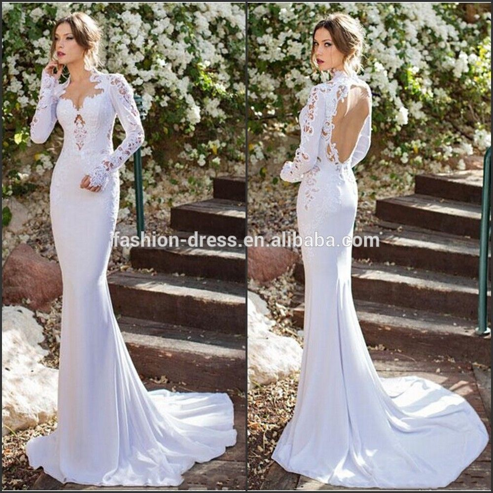Beautiful And Pure Backless Mermaid Wedding Dress With Long Sleeve ...