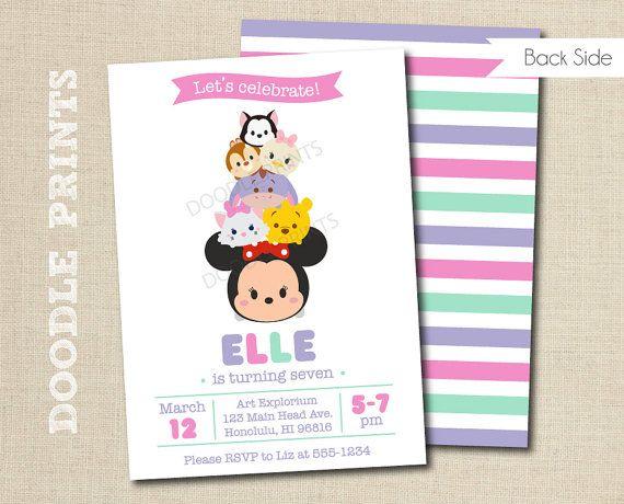 ef6827dc26e44bdd7f61e18a921b7e4f tsum tsum minnie mouse birthday party invitation, disney tsum tsum,Tsum Tsum Invitation