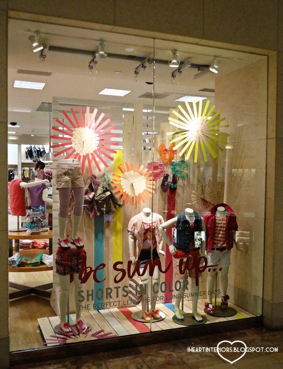 I heart interiors gap window display tangerine tango for Retail store window display ideas