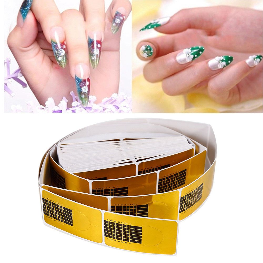 Golden Nail Art Tips 100Pcs Extension Forms Guide French Diy Acrylic ...