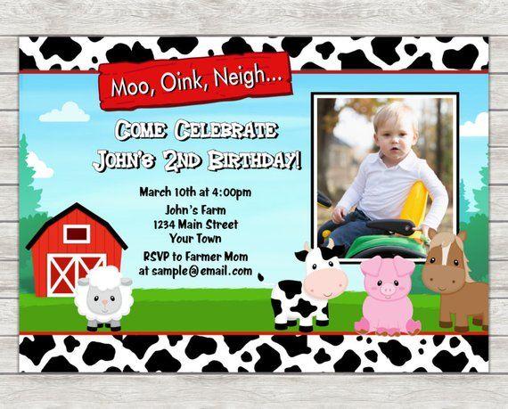 Barnyard Birthday Invitation Farm Party Digital Printable File Printing Als