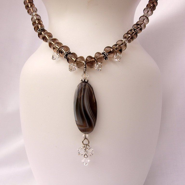 silver gemstone necklace wire wrap pendant Botswana Agate necklace tumbled agate