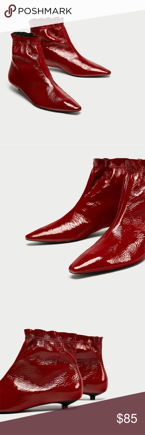 89e87612b99 ZARA Flat Patent Leather Ankle Boots Burgundy leather ankle boots with  wrinkled patent finish leather, gathering at the top of the leg and pointed  toes Heel ...