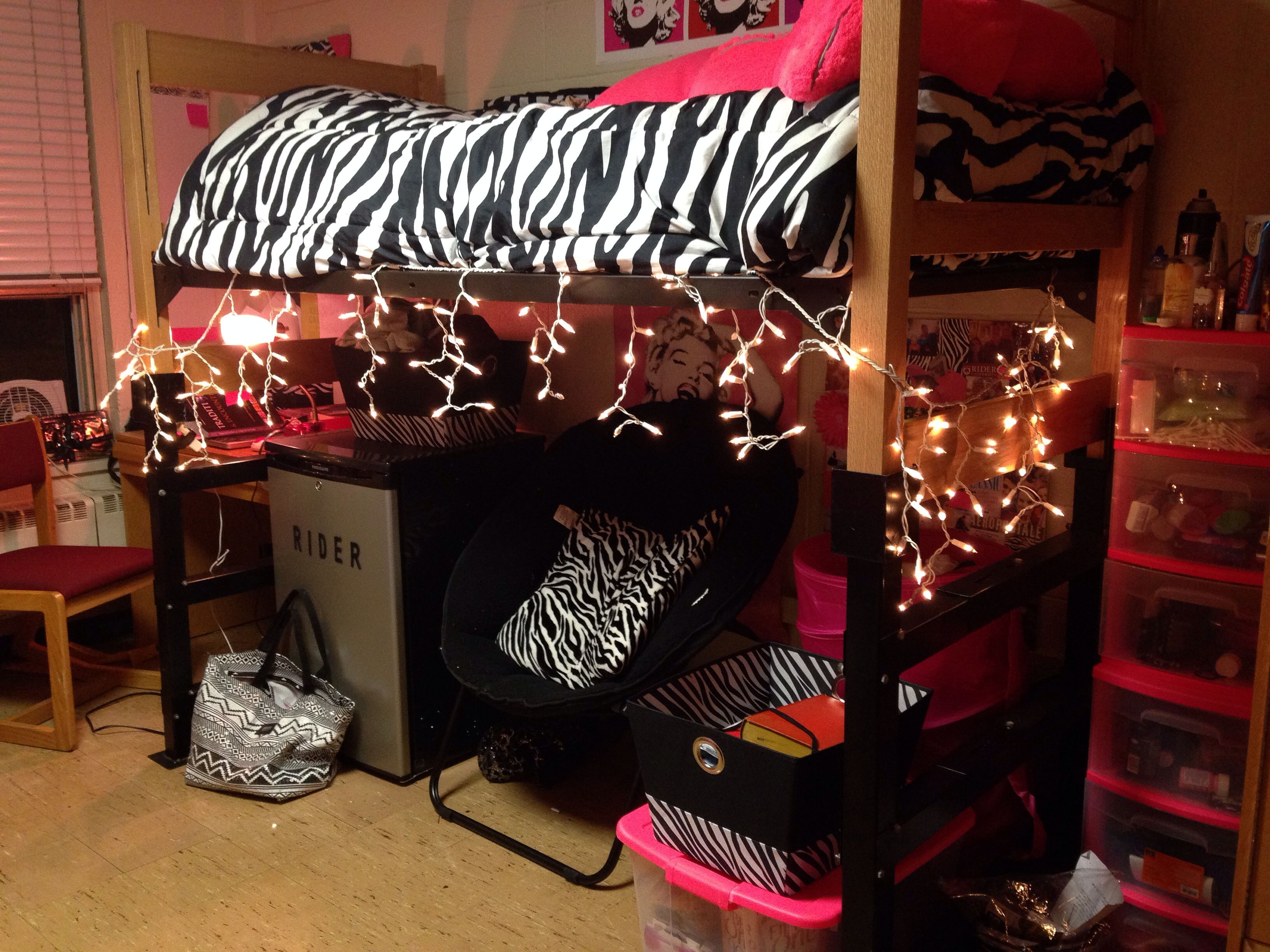 Adding Christmas lights to your room is a great way to lighten it up
