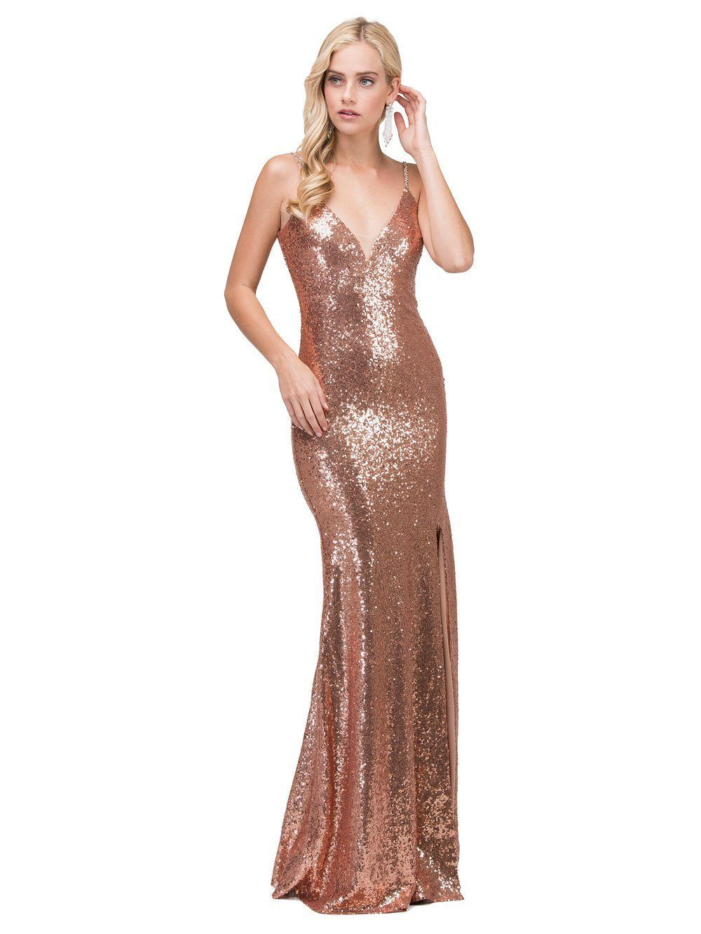 Sexy vcut sequins prom dress with slit dq in products