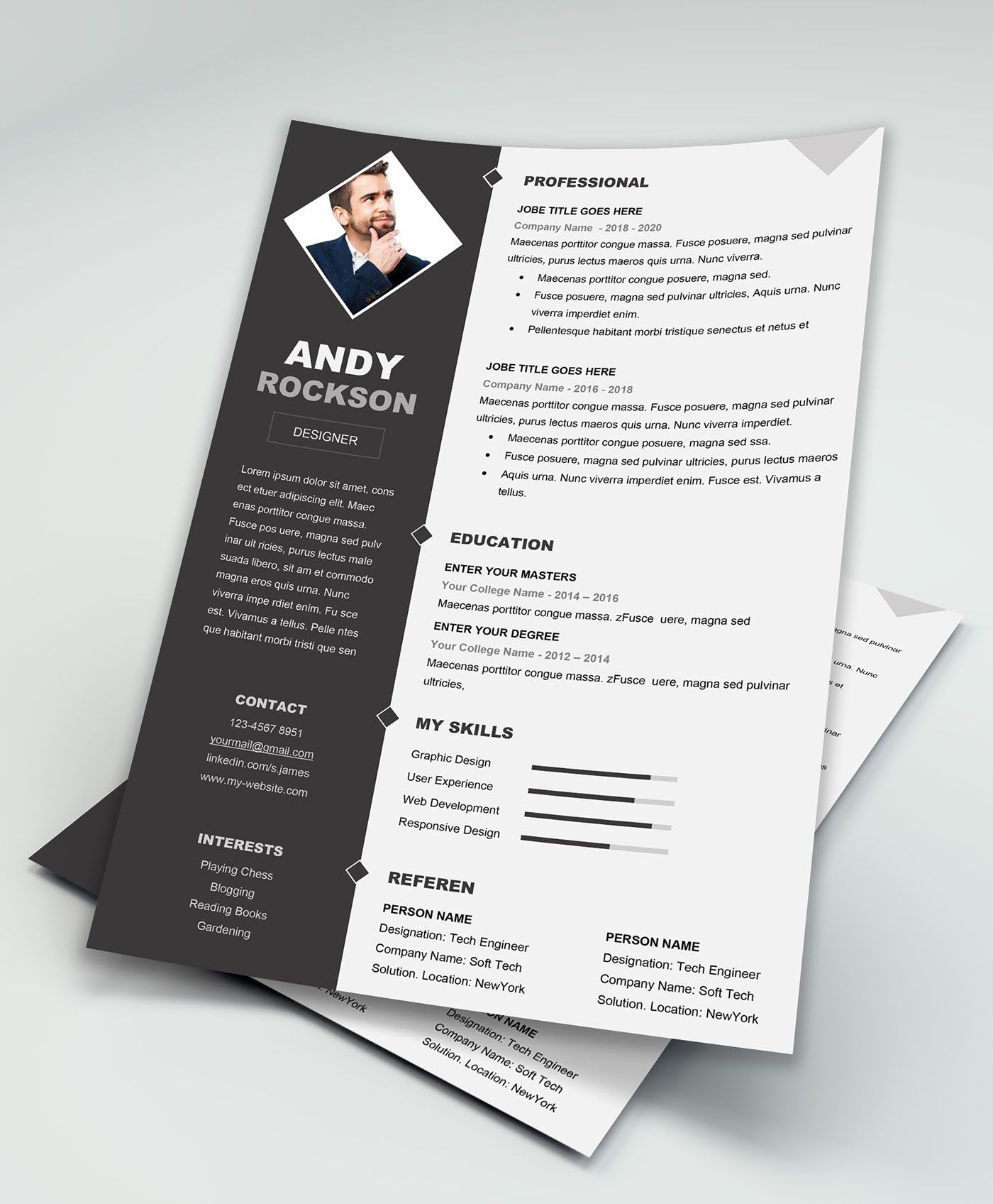 Check out this behance project free resume template