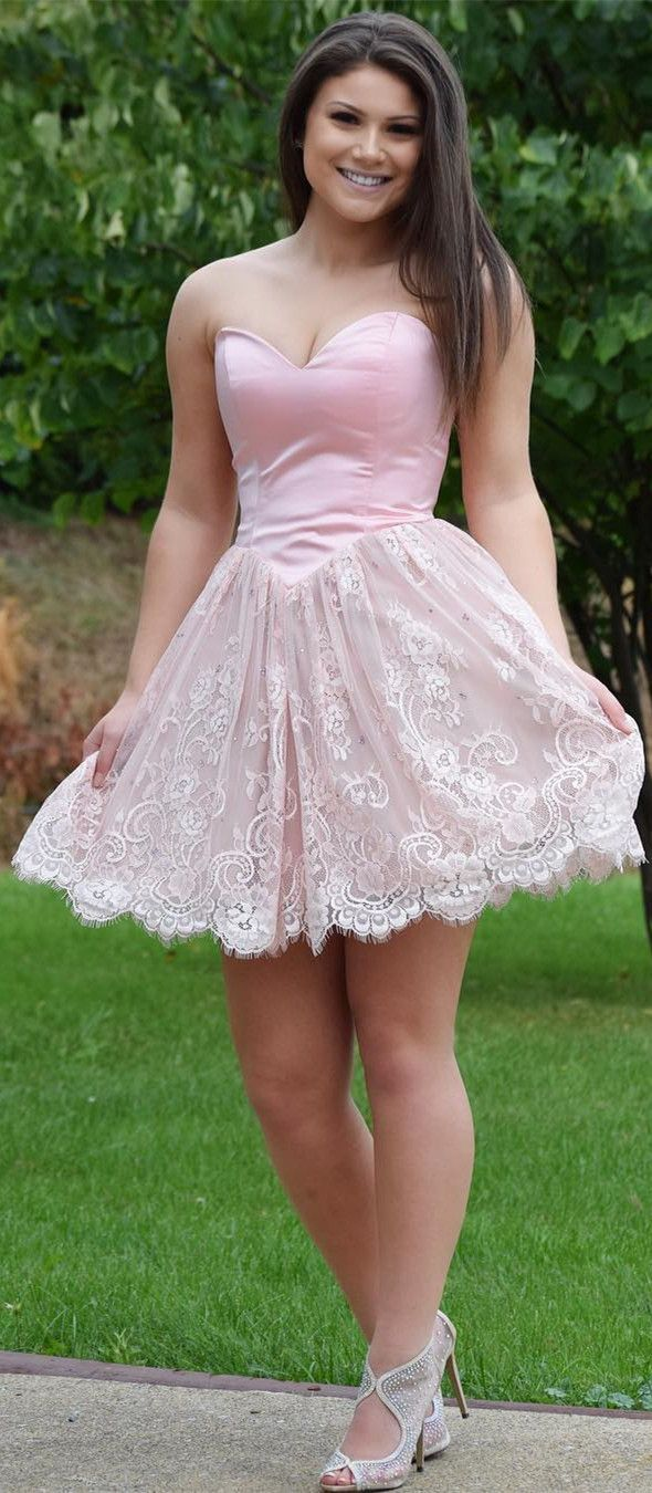 Cute sweetheart short lace homecoming dress ball gown pinterest