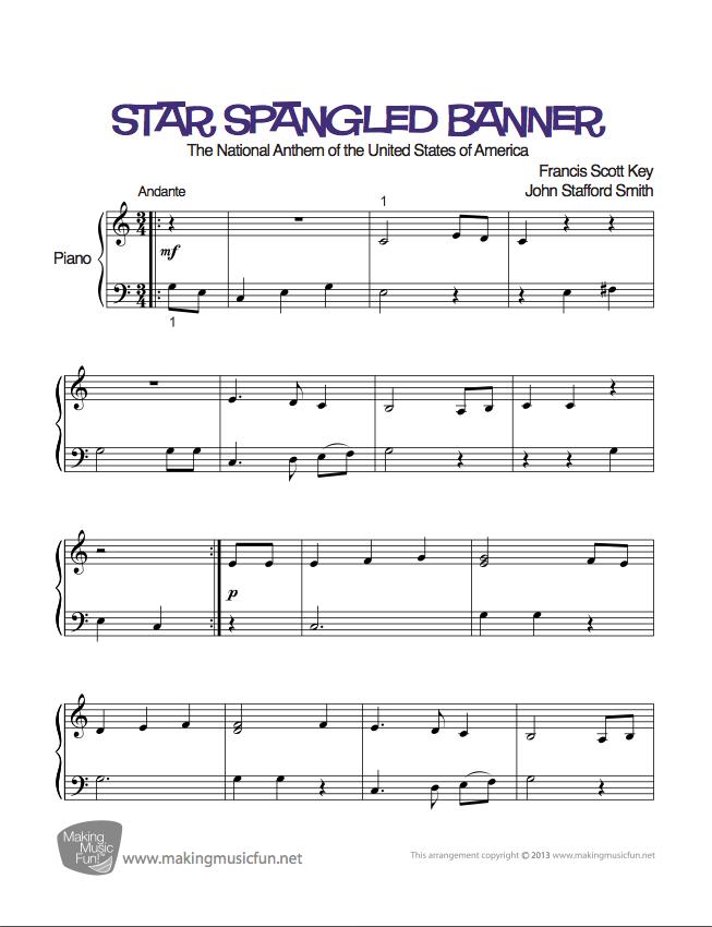 Star Spangled Banner Easy Piano Sheet Music Digital Print Sheet Music Easy Piano Sheet Music Piano Sheet