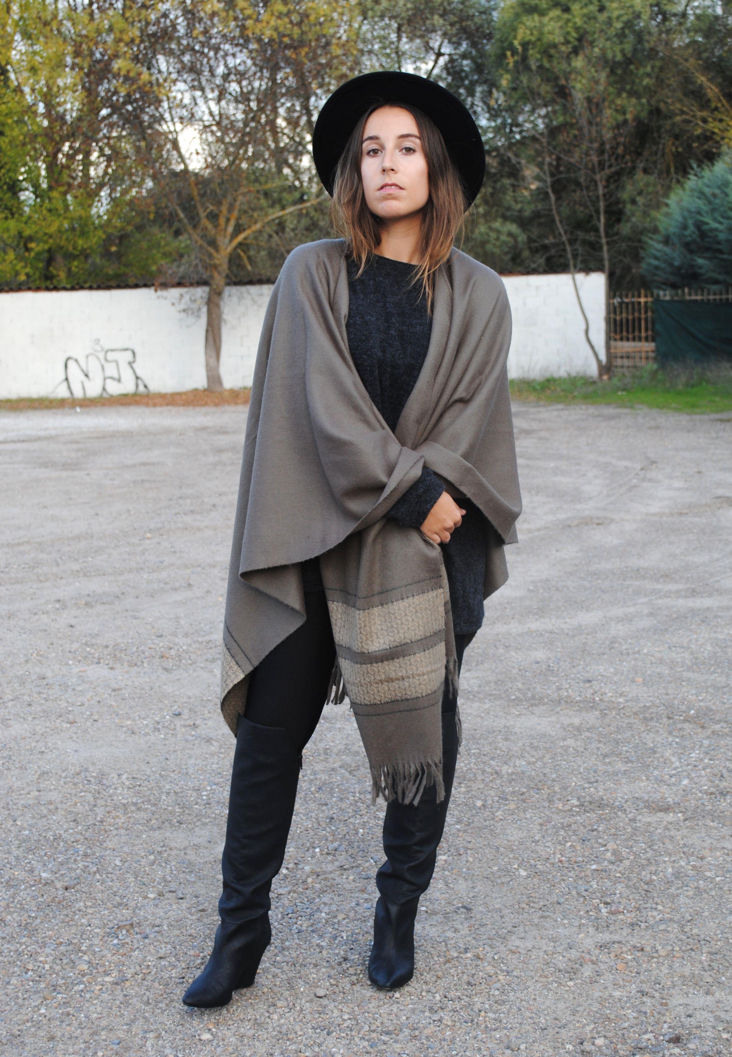 Women's Grey Shawl, Charcoal Knit Oversized Sweater, Black ...