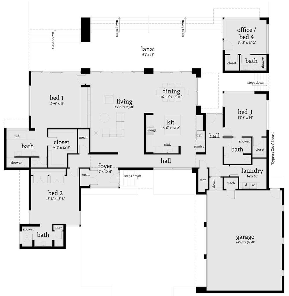 Plano De Casa Moderna Con 4 Dormitorios Modern Style House Plans House Plans How To Plan
