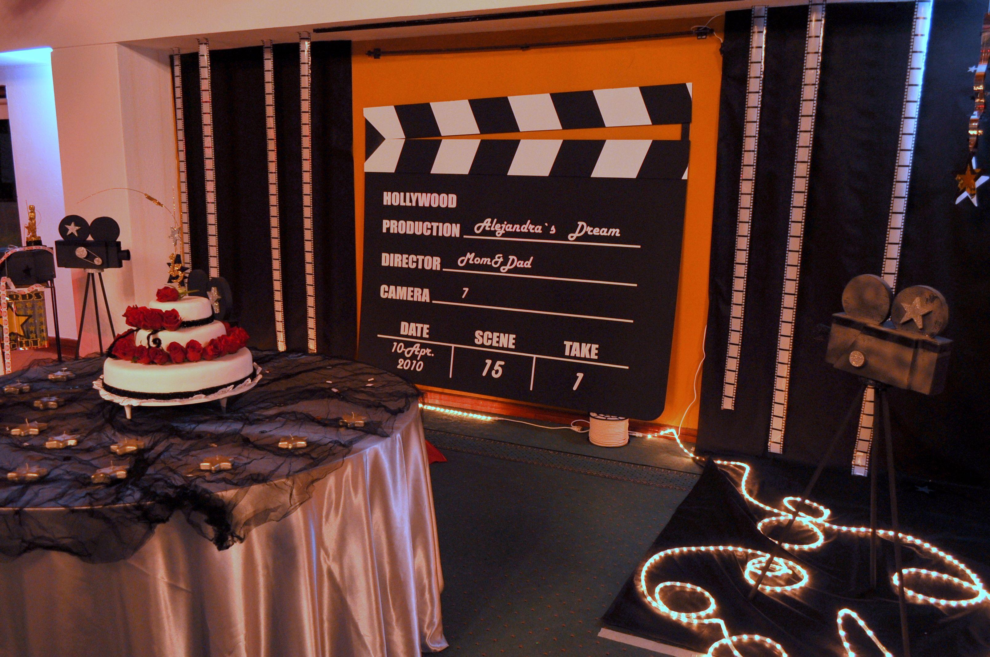 Escenograf a para fotos fiesta 15 a os tema hollywood - Decoracion para foto ...