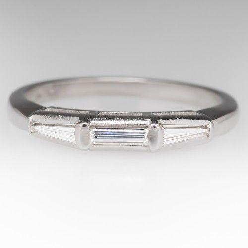 Vintage Tapered Baguette Diamond Wedding Band Platinum | Lau\'s ...