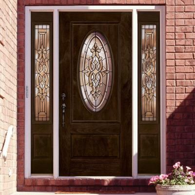 Feather River Doors Silverdale Patina 3 4 Oval Lite Stained Chestnut Mahogany Fiberglass Entry Door Wi Door Design Wood Fiberglass Entry Doors Wood Front Doors