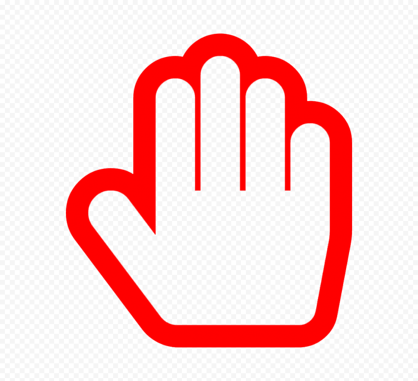 Hd Stop Hand Outline Red Silhouette Icon Symbol Png Hand Outline Outline Icon