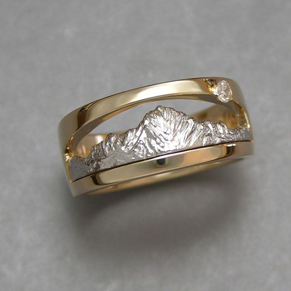 Mountain Bands Platinum And Yellow Gold Two Tone Mt Sneffels Ring With Small Diamond