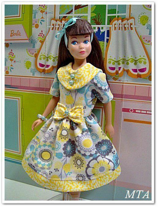 HAPPINESS BLOOMS~Aqua/Yel/Grey~3pc Dress w/Collar~Fits Vintage Skipper~Handmade #Handmade