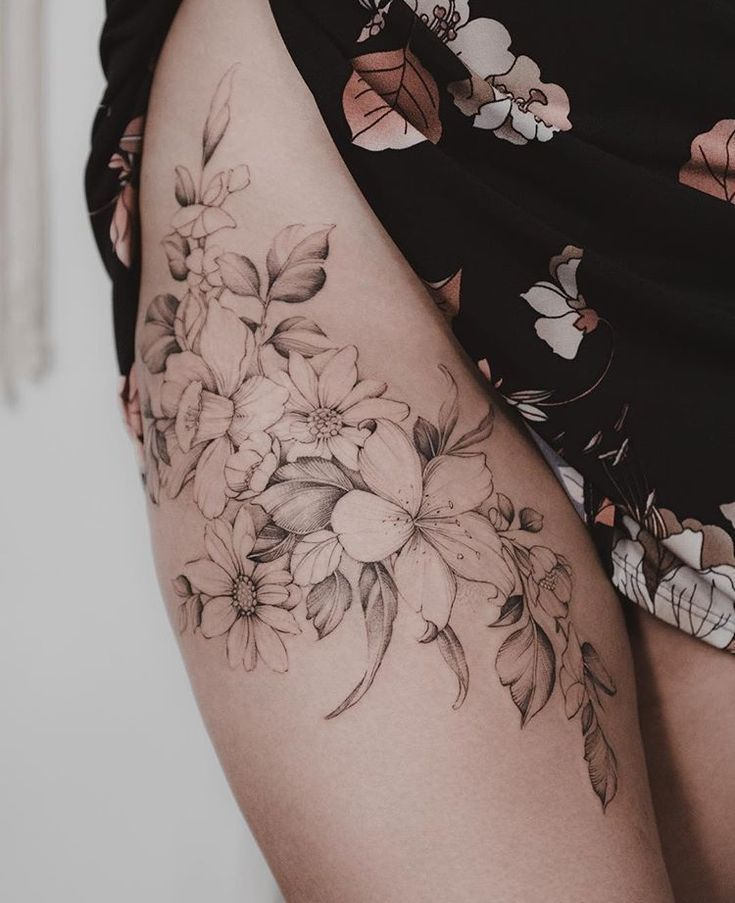Pin By Megan Reid On Ink Tattoos Flower Thigh Tattoos Floral