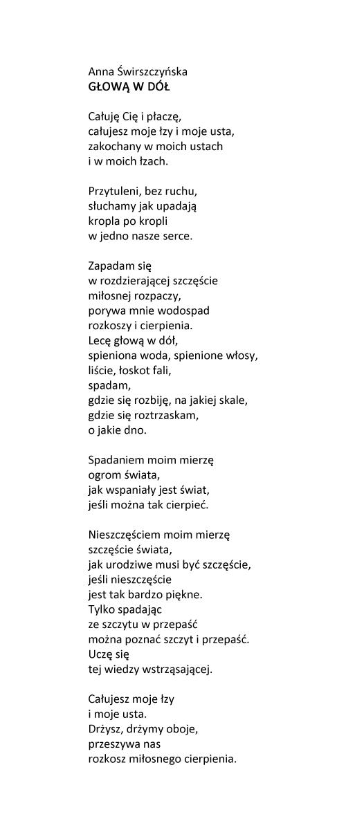 Anna świrszczyńska Głową W Dół Wiersze Poezja Cytaty I